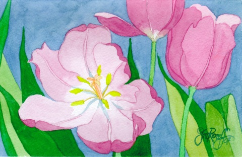 """Three Purple Tulips"", ©Jill Rosoff, 2007, 5 1/2"" x 8 1/2"", $55.00"