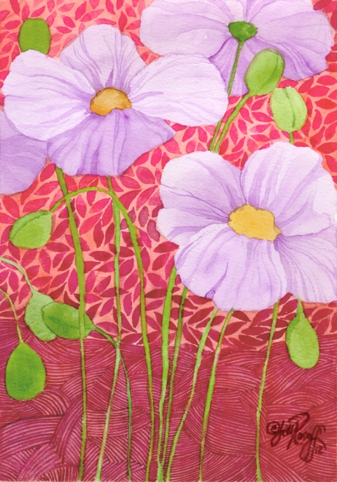 Lavender poppies on red patterns